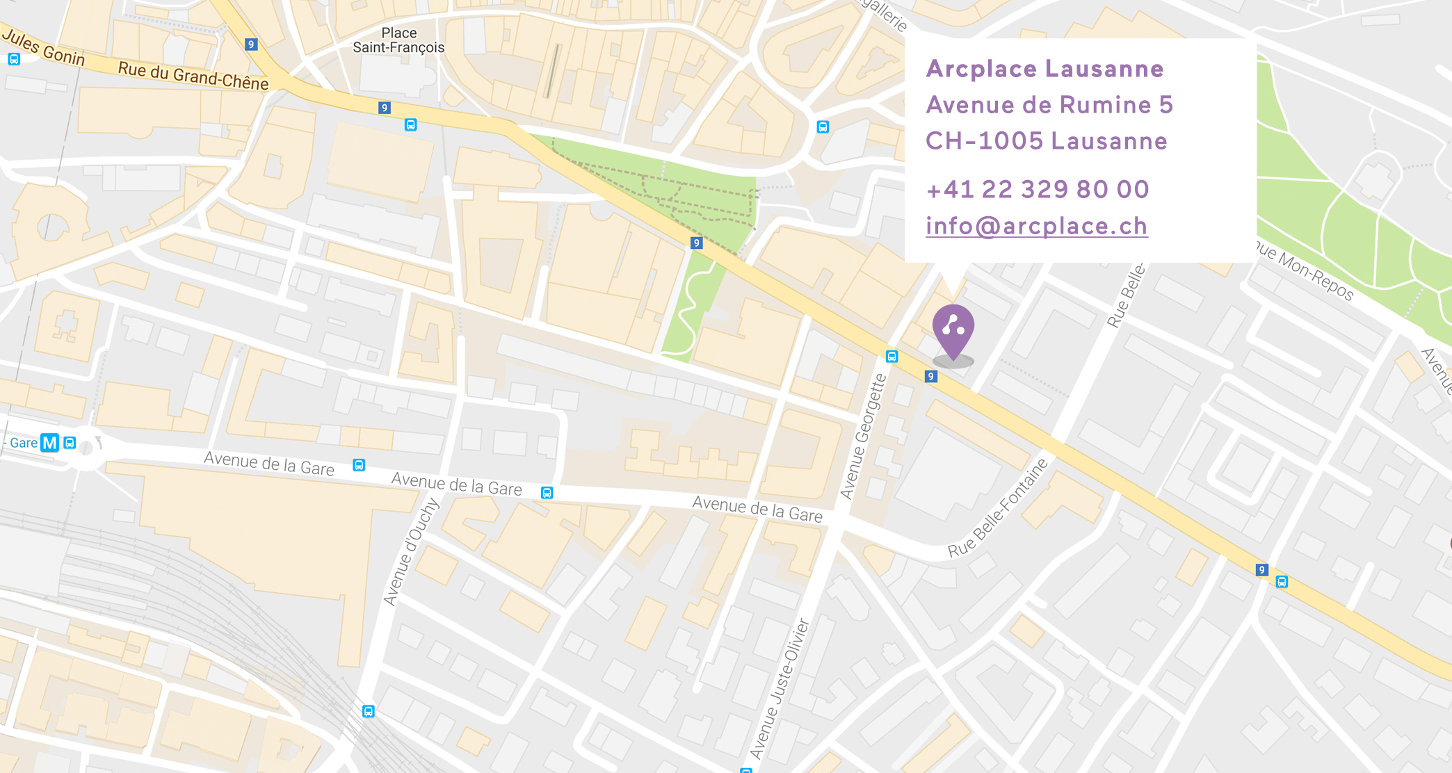 Map Arcplace Lausanne